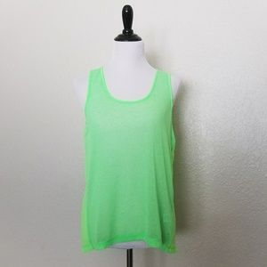 Romeo & Juliet Couture Neon Lime Green Tank Top